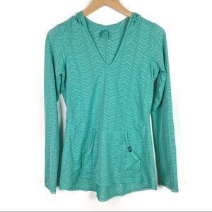 Prana | Teal hooded chevron pullover | Medium